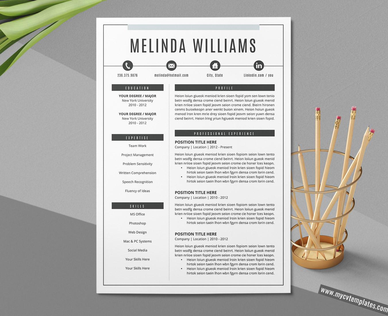 Professional CV Template for Word, Curriculum Vitae, Simple CV Format  Design, Modern Resume Template, Creative Resume Format, Editable Resume,  300 30 ...