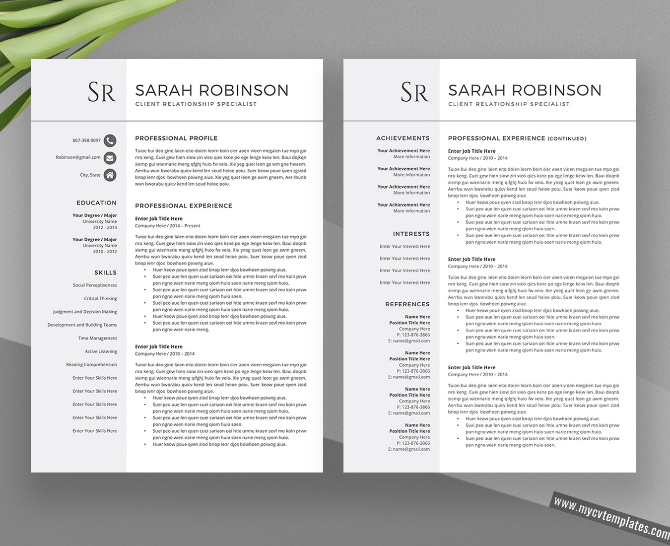 2020 Creative and Professional CV Templates and Cover Letter Templates - Unlimited Digital ...